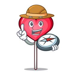 Explorer heart lollipop mascot cartoon vector