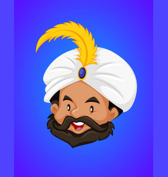 Face of genie on blue background vector