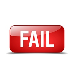 Fail red square 3d realistic isolated web button vector