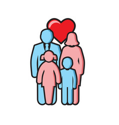 Family outline color icon on white background for vector