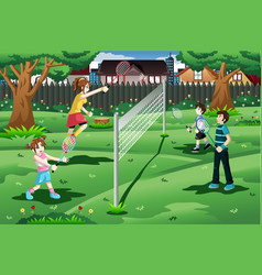 Family playing badminton in backyard vector