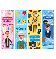 Fashion designer jeweler photographer and pilot vector