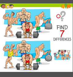 Find differences game with athletes sportsmen vector
