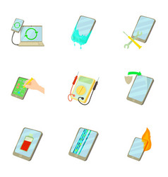Fixing phone icons set cartoon style vector