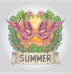 flamingo summer with nature leaf and coconut tree vector image