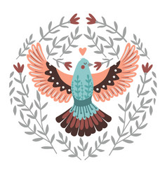 flying bird in branches vector image