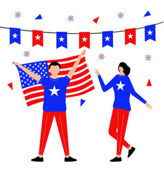fourth july with flat character vector image
