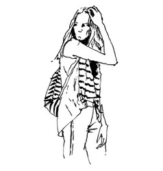 free hand drawing a woman vector image