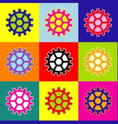 gear sign pop-art style colorful icons vector image