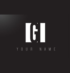 Gi letter logo with black and white negative vector