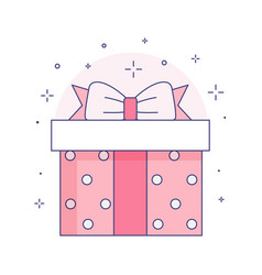 gift box with ribbon bow icon in line art vector image
