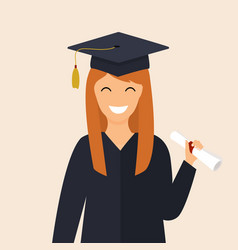 graduate girl in the mantle keeps in hands vector image