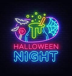 Halloween neon sign halloween night design vector