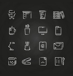 Hand drawn office icons on chalkboard vector