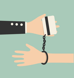 hands tied as credit card vector image