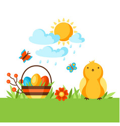 happy easter background with holiday items vector image