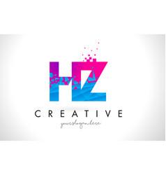 hz h z letter logo with shattered broken blue vector image