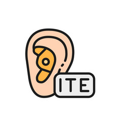 In the ear hearing aid ite flat color line icon vector