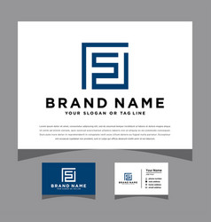 Initials letter fs logo with a business card vector