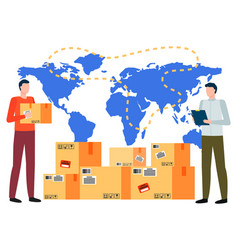International business with parcel symbol vector