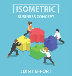 Isometric business people pushing and assembling vector image