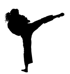 Karate woman fighter in kimono silhouette defense vector