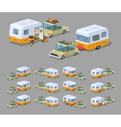 Low poly beige sedan with orange-white motor home vector image