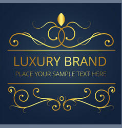 luxury brand gold text vine design image vector image