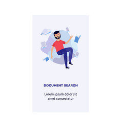 man and information document search concept vector image