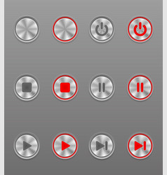 metal media button set icons on and off position vector image