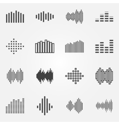 Music soundwave or equalizer icons set vector image
