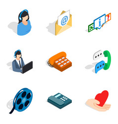 Network address icons set isometric style vector