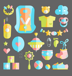 newborn infant themed cute flat set baby care vector image