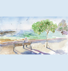 Old man sitting on bench and watching yachts vector