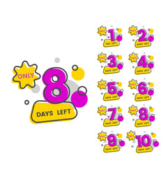 Only 8 days left - flat isolated sticker set with vector