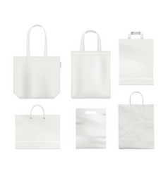 paper bag mockup handle blank shopping bag empty vector image