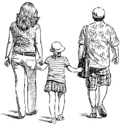 Parents with their child go for walk vector
