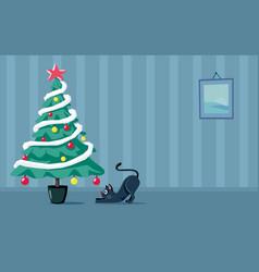 playful cat looking at christmas tree cartoon vector image