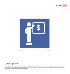 presentation on business growth icon - blue photo vector image