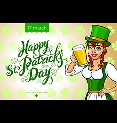Pretty leprechaun girl with beer St Patricks Day vector