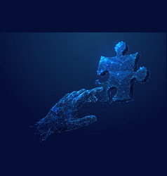 Puzzle and touching hand low poly blue vector
