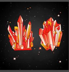 Red crystal cartoon cute quartz vector