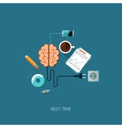 Rest time brain creative flat web concept vector