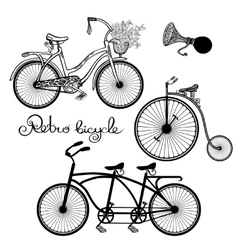 Retro Bicycles Set vector