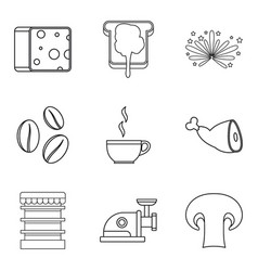 Sandwich topping icons set outline style vector