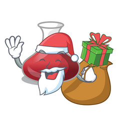 Santa with gift red wine decanter isolated on vector
