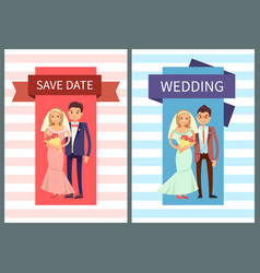 save date and wedding set vector image