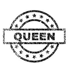Scratched textured queen stamp seal vector