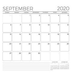 September 2020 monthly calendar planner template vector