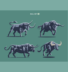 set of bulls and buffalo in different poses vector image
